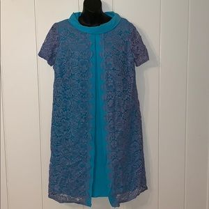 Lovely Vtg 60s blue dress with lace overlay